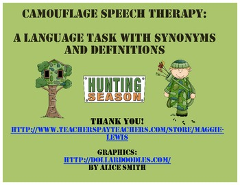 Camo Speech Therapy- A Hunting Themed Language Task