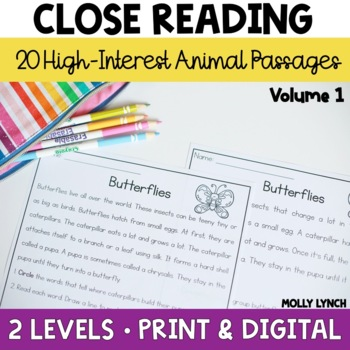 Camp Comprehension: Animals 40 Differentiated Close Reading Passages