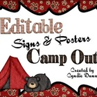 Camp Out - Editable Horizontal Signs