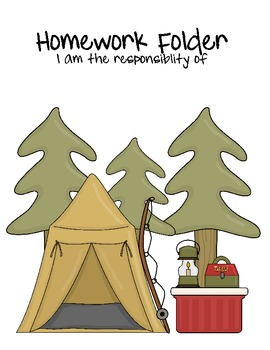 Camp Theme Homework Folder Coversheet