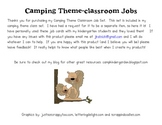 Camping Theme Job Cards