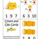 Camping themed Count and Clip Math Cards.  Preschool early