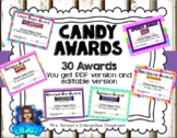 Candy Award Certificates End of the Year - Editable and PD