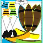 Canoes, Oars and Life Jackets Clip Art