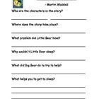 Can't You Sleep Little Bear Comprehension Sheet