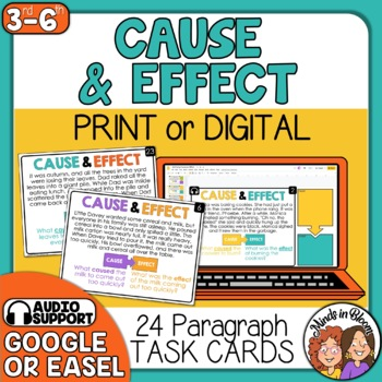 Cause and Effect Task Cards: 24 Cards to identify Cause and Effect