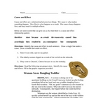 Cause and Effect Worksheet with Graphic Organizer--middle School