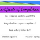Certificate of Lesson Completion