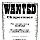 Chaperones Wanted Letter - feild trip, printable, display