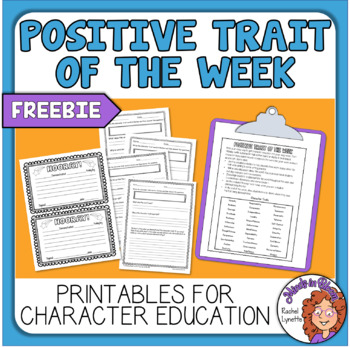 Character Trait Words - 42 Bright & Colorful Words + Worksheet