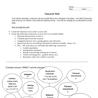 Character web worksheet with example