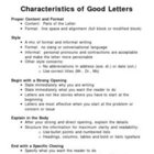 Characteristics of Good Letter Writing - Overhead Note