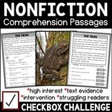 Checkbox Challenge Non-fiction Comprehension Pack for Stru