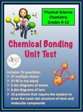 Chemical Bonding Unit Test (Ionic and Covalent)