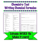 Chemistry Test - Writing Chemical Formulas