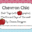 Chevron Chic- 5 Desk tags (apple graphics) Month and Days