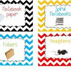 Chevron Classroom  Decor Labels Set