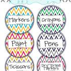 Chevron Classroom Supply Labels- Round