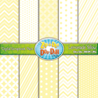 Chevron & Dot Digital Scrapbook Pack — Lemonade Yellow (10 Pages)