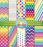 Chevron & Dot Digital Scrapbook Pack — Rainbow (10 Pages)