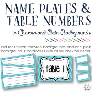 Chevron Name Plates, Bin Cards & Table Numbers