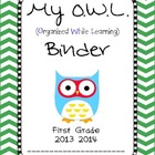 Chevron OWL Binder First Grade