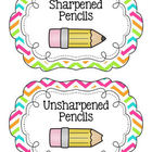 Chevron Pencil Bucket Labels