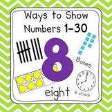 Chevron 0-30 Number Posters (Ten Frames, Tallies, Base Ten)