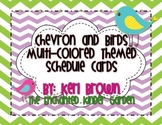 Chevron and Birds Themed Schedule Cards (4 colors) with Editables