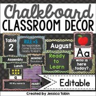 Chevron and Chalkboard Classroom Decor Set (Rainbow Chevro