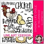 Chicken life cycle LINE ART bundle by melonheadz