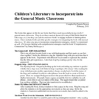Children's Literature to Integrate into Music Classes