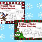 Christmas 2 & 3 digit Place Value Worksheet Bundle