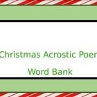 Christmas Acrostic Poem Word Bank and Rough Draft Form