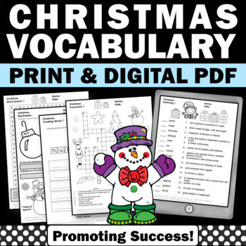 Christmas Activities Literacy Center Word Search Poetry Worksheets Vocabulary
