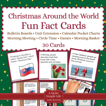 Christmas Around the World Fact Cards for Calendar Pocket Charts