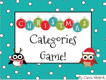 Christmas Categories Game - like Scattergories