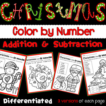 Christmas Color By Number with Addition and Subtraction Numbers 1-10
