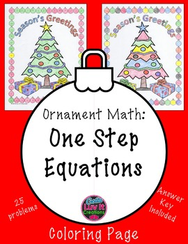 Christmas Math One Step Equations Practice Problems & Coloring Page
