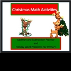 Christmas Holiday Math fact and word problem packet for Primary
