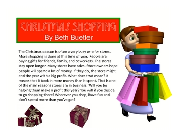 "Christmas Holiday Story ""Christmas Shopping"" Reading Compr"