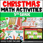 Christmas Math Centers 4th and 5th Grade Common Core Aligned