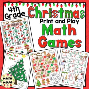 Christmas Math Games and Centers: 4th Grade Print and Play, No Prep Games