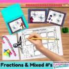 Christmas Math Task Cards {Naming Fractions Two Ways}