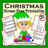 Christmas Math and Literacy Stress-Free Printables - Fifth