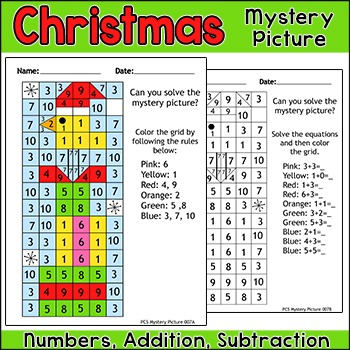 Christmas Math Mystery Picture - Christmas Activity