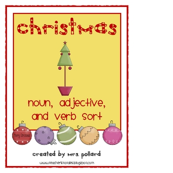 Christmas Noun, Adjective, & Verb Sort