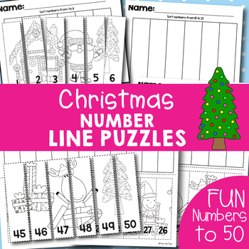 Christmas Number Line Cut and Paste Puzzles - Worksheets