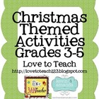 Christmas Math and ELA Printables Grades 3-5