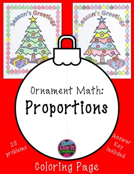 Christmas Math Proportions Practice Problems & Coloring Page